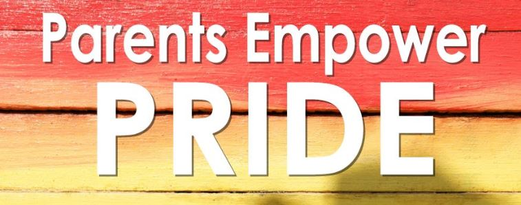Parents Empower Pride logo with red-to-yellow gradient background