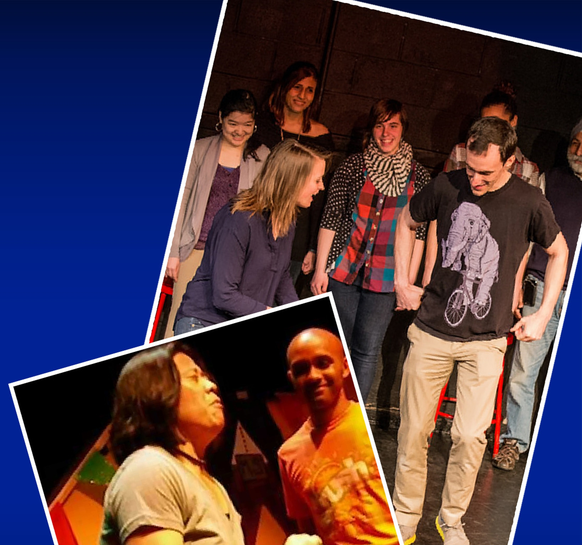 Two photos of a group of actors during improv workshop