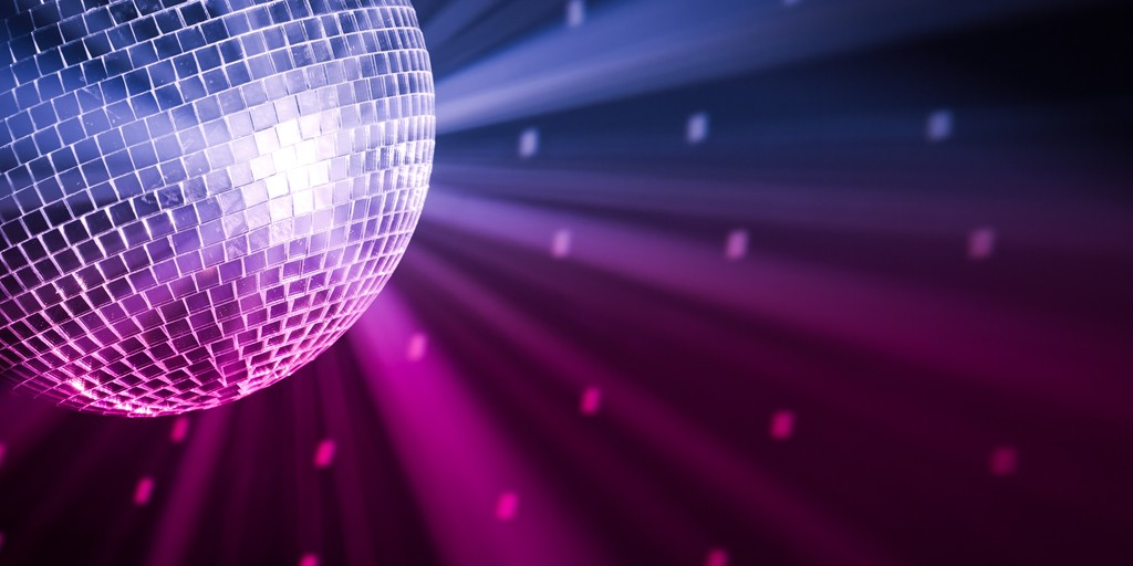 Disco Ball on purple background
