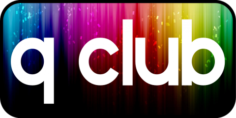 Q Club logo with colorful rainbow background