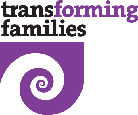 Transforming Families logo with a purple swirl graphic