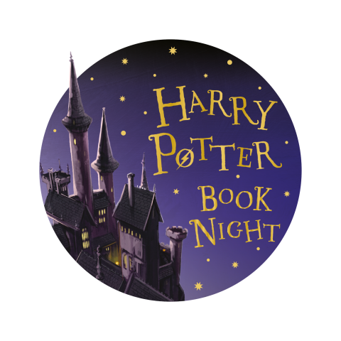 Illustration of Hogwarts Castle on purple background with stars reads Harry Potter Book Night