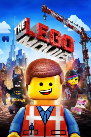 Lego figure smiling with the Lego Movie logo in background.